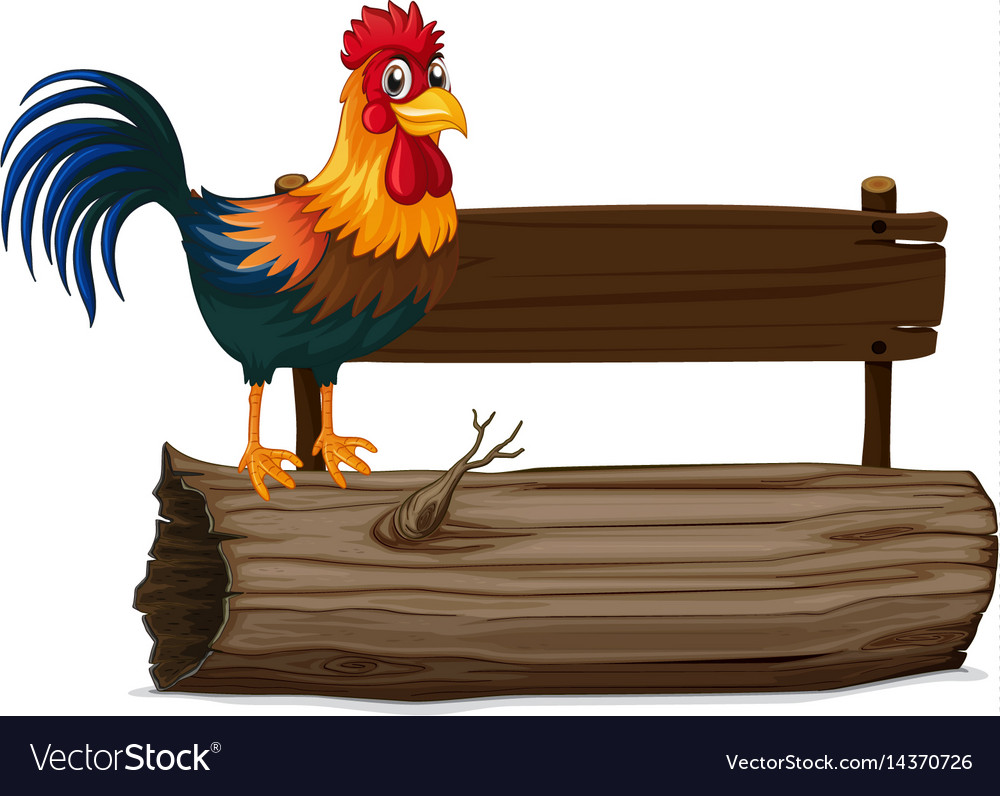 Wooden sign with rooster vector image