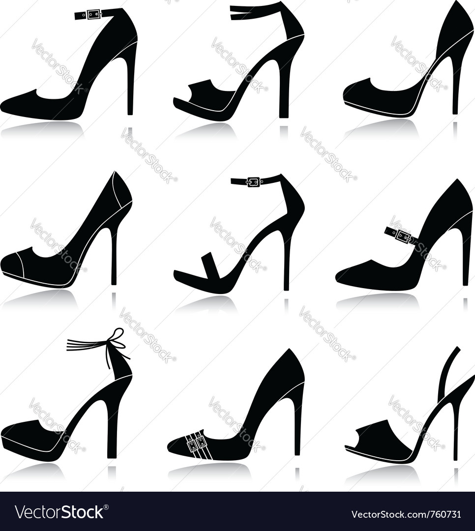 Black shoes icons vector image