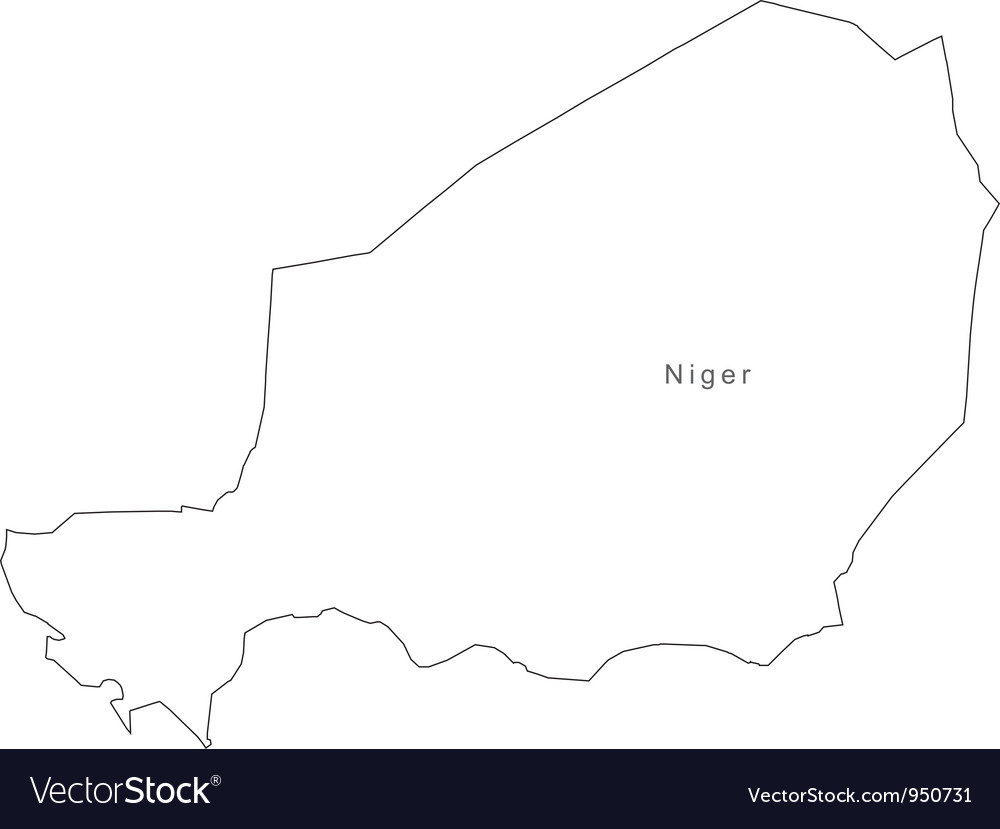 Black White Niger Outline Map Royalty Free Vector Image