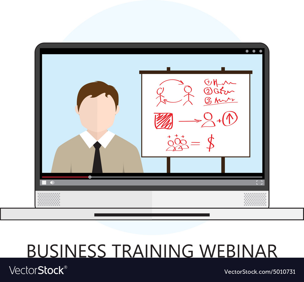 Business Training Webinar Icon Flat Design