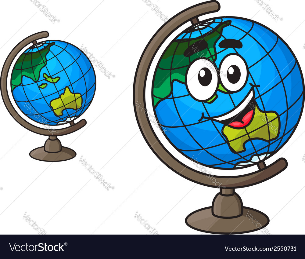 Colorful world globe with a laughing smile