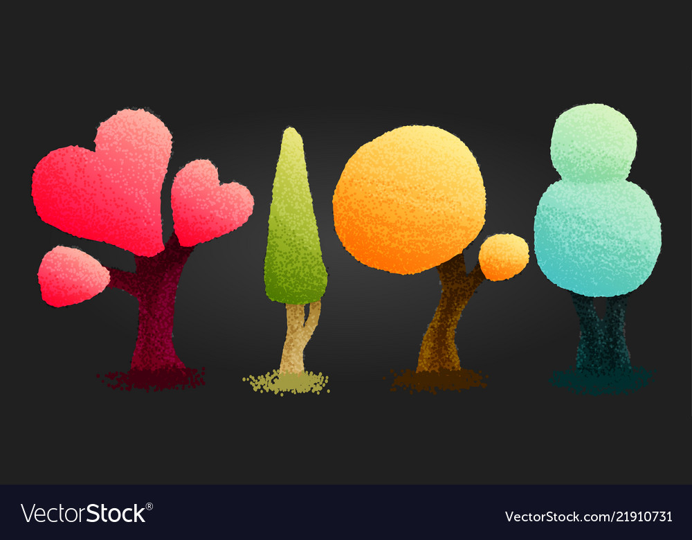 Four bright trees in cartoon style fashion