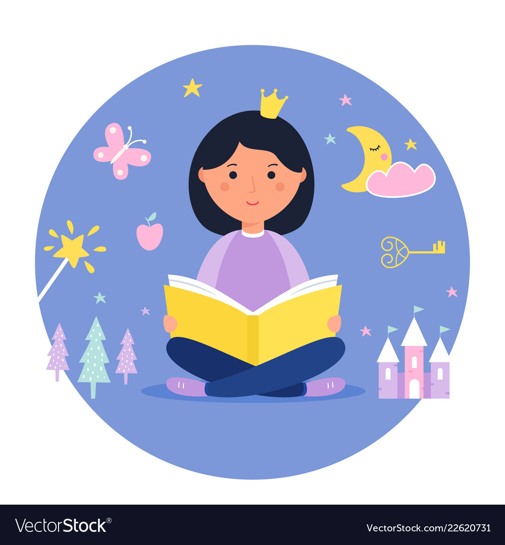 Girl reading a book fantasy and fairy tale