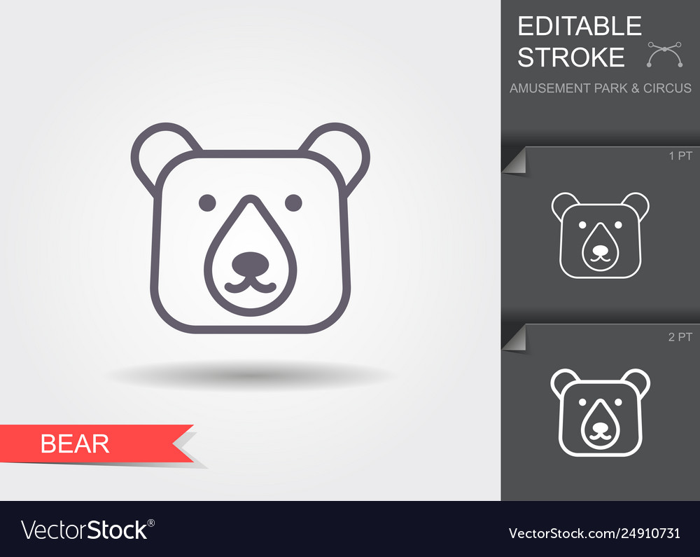 Head bear line icon with shadow and