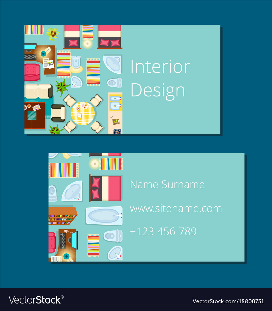 Interior Design Business Card Royalty Free Vector Image