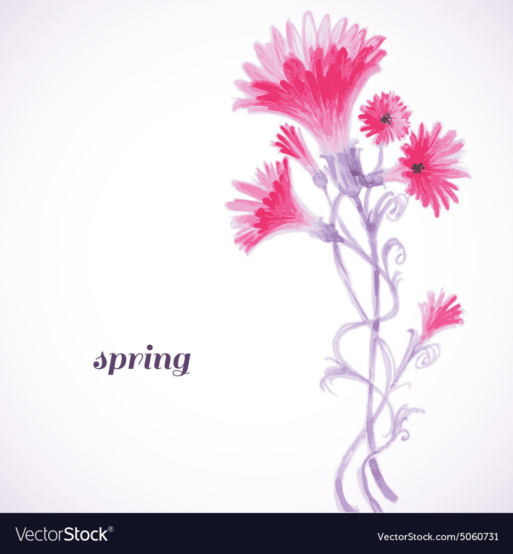 Pink flowers watercolor painting spring background