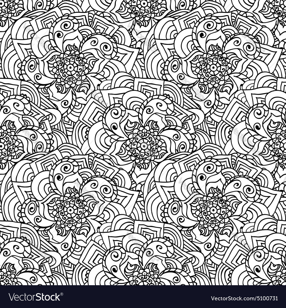 Seamless doodles pattern Black and white fishnet vector image