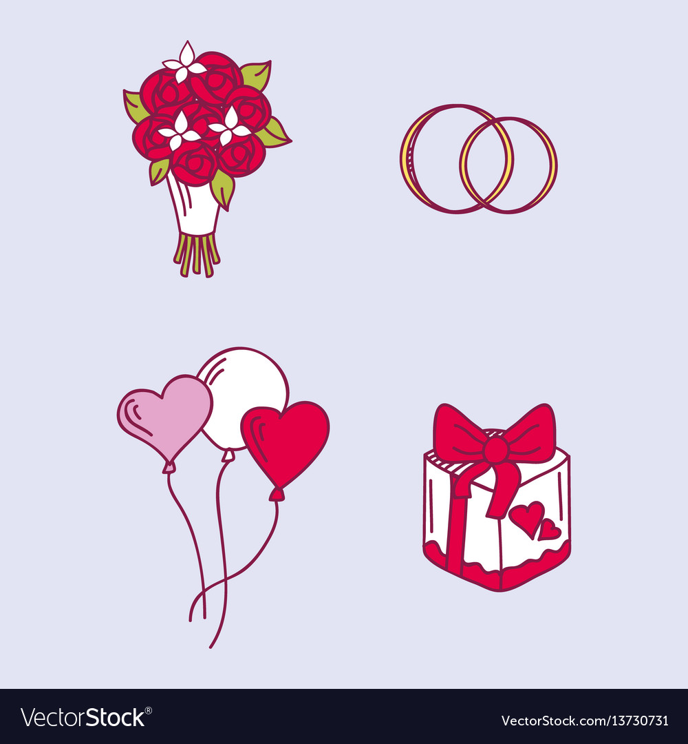 Wedding couple relationship marriage nuptial icons