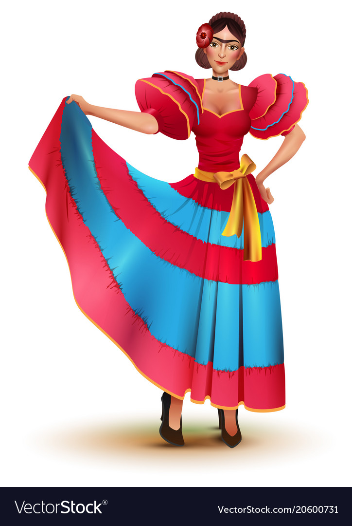 706a98df726d Young mexican woman in red dress solo dancing Vector Image