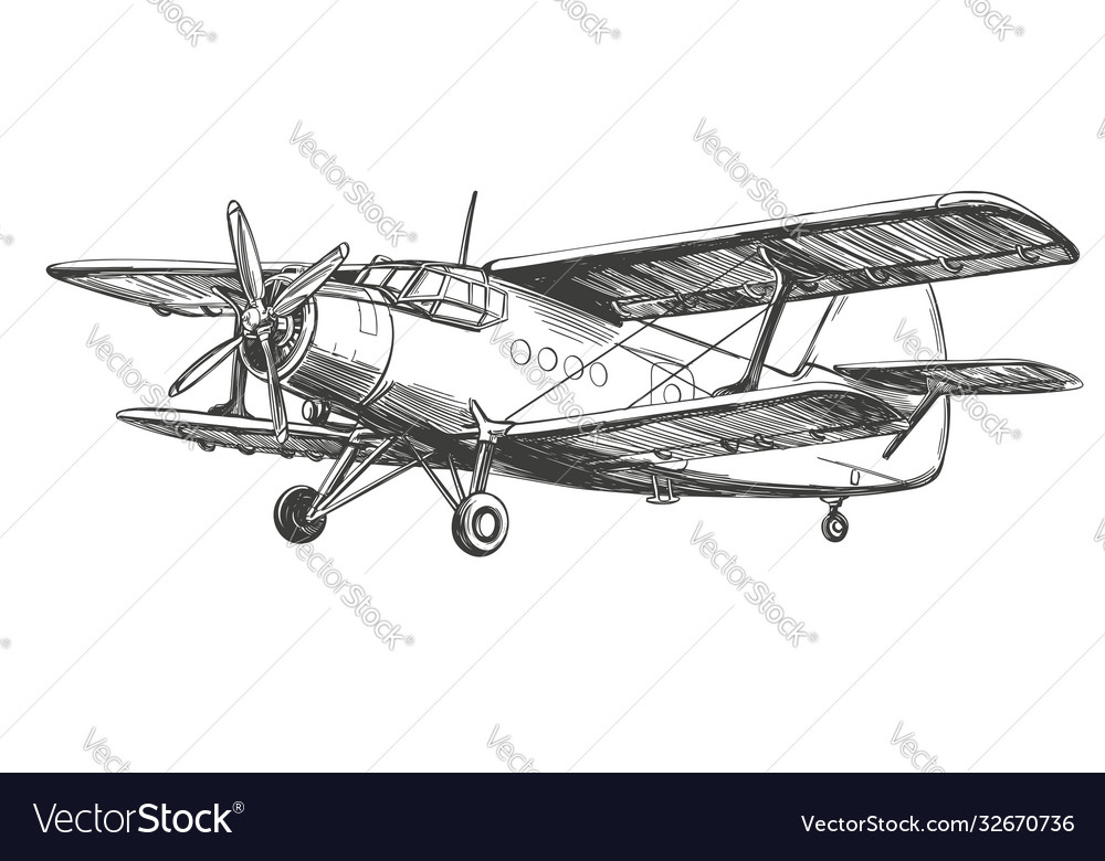 Airplane vintage hand drawn illustration