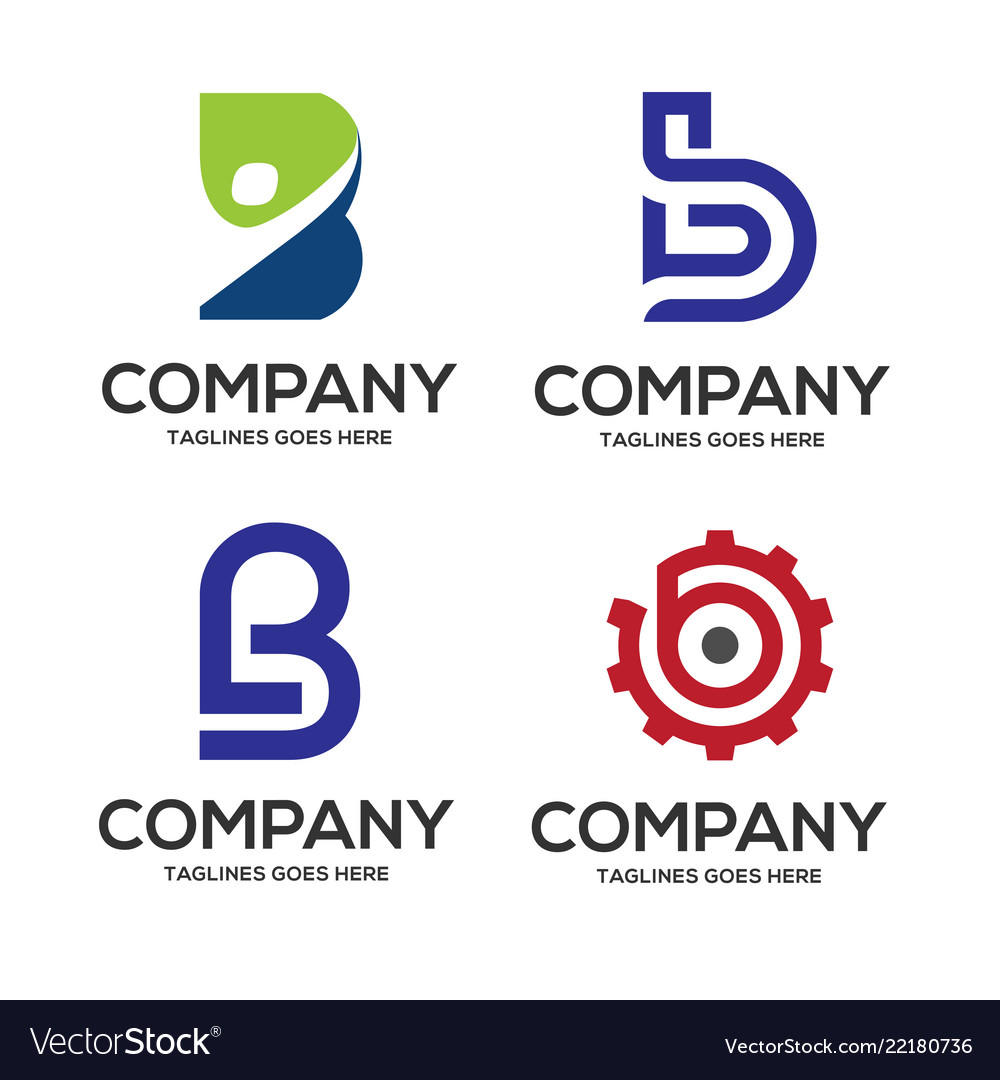 B letter logo design logo set vector
