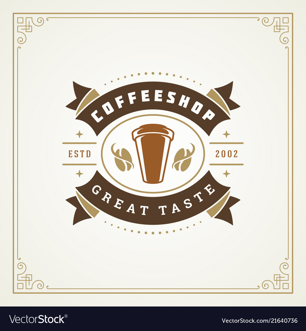 coffee shop label design template royalty free vector image