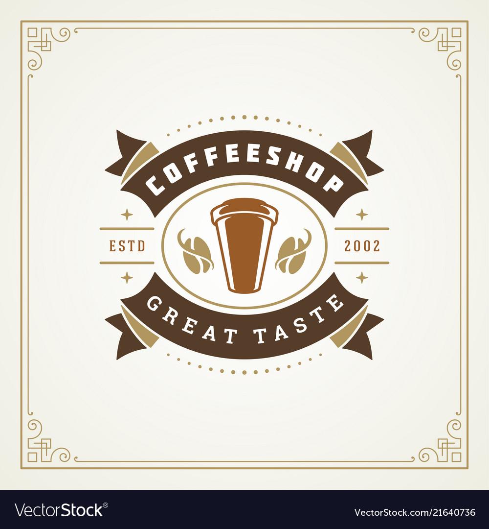 Coffee shop label design template