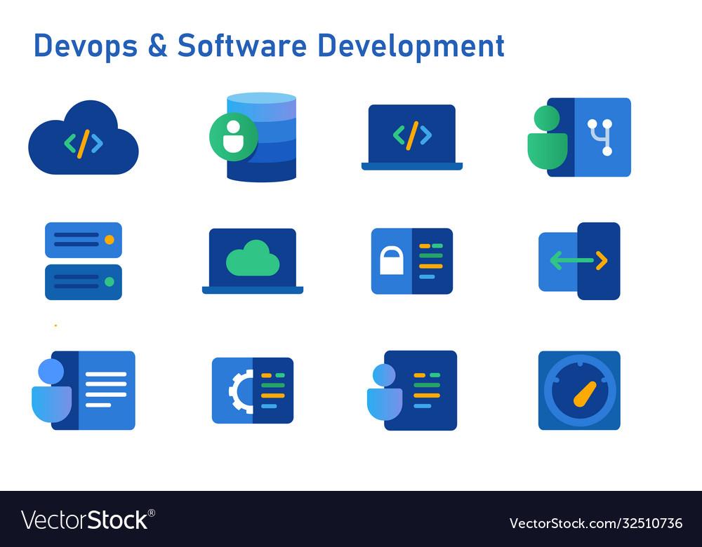 Devops software development icon set coding