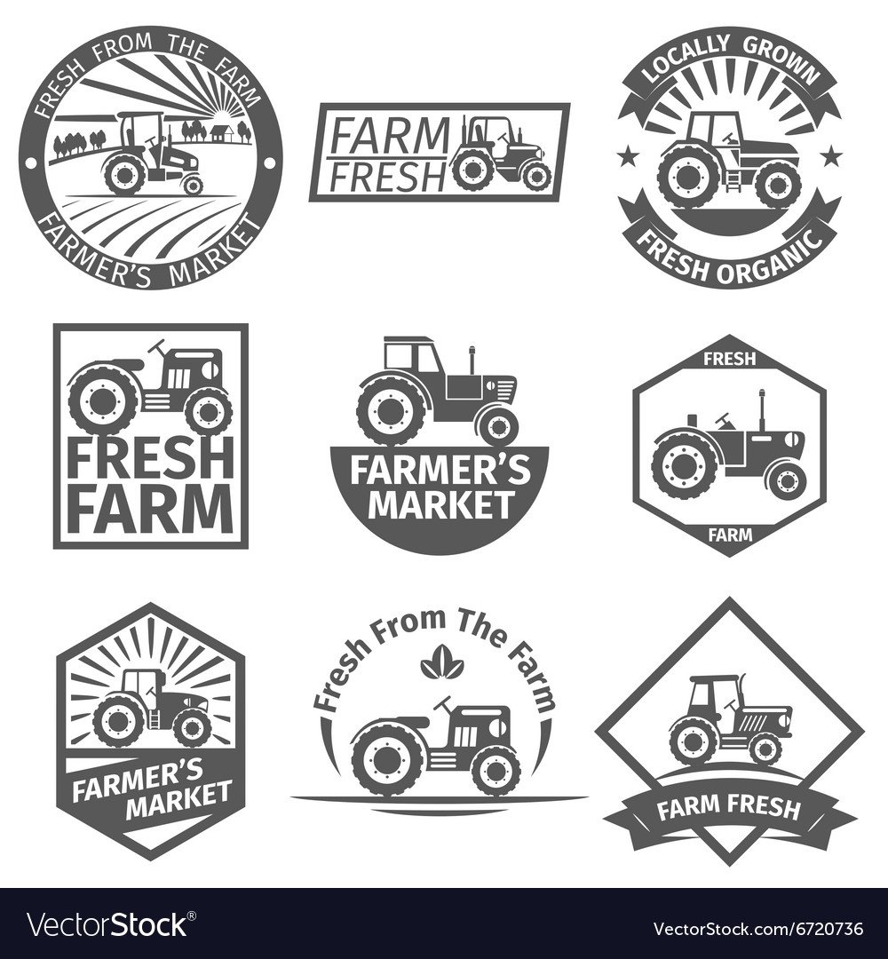 Farm labels with tractor