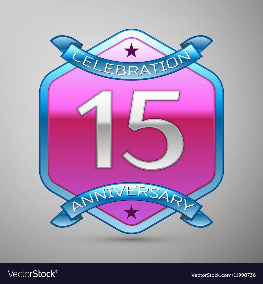 Fifteen years anniversary celebration silver logo