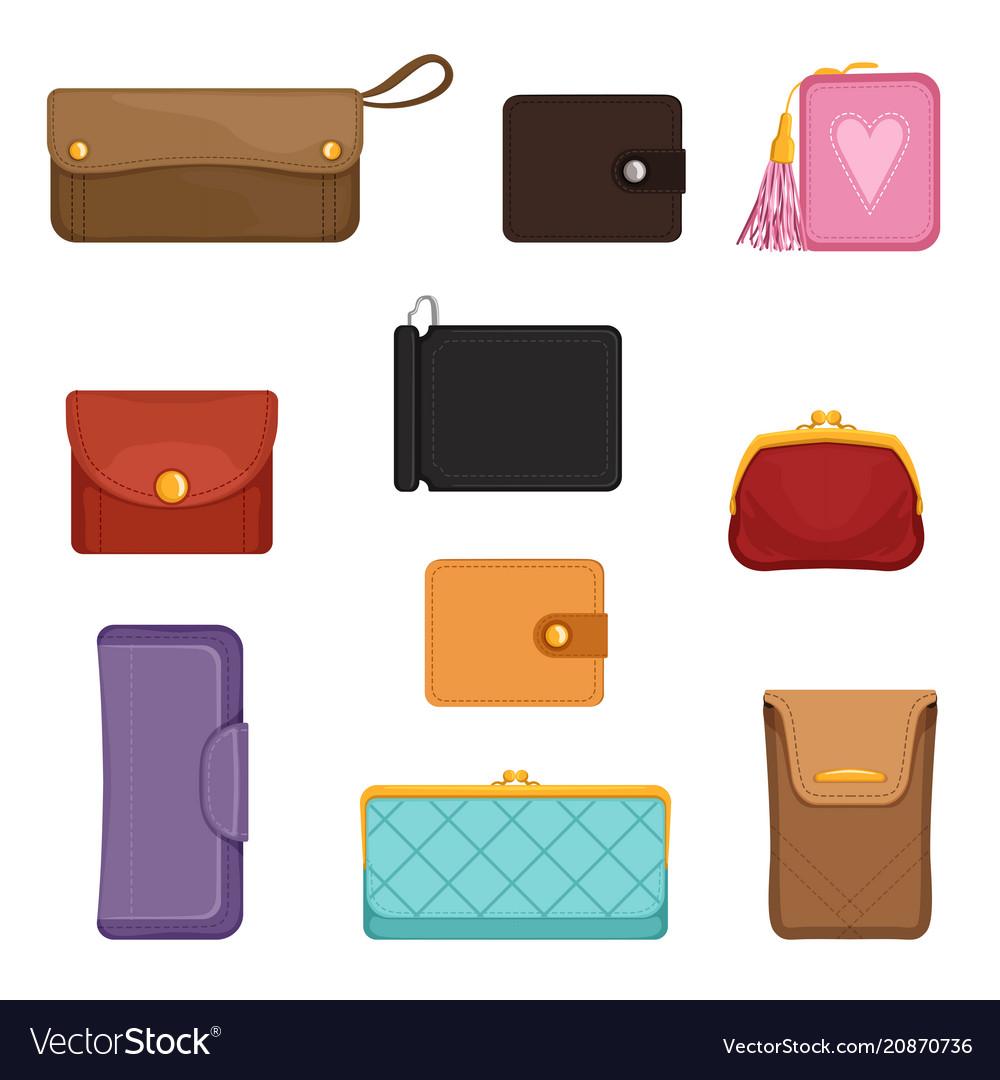 Flat set of stylish wallets pocket-sized