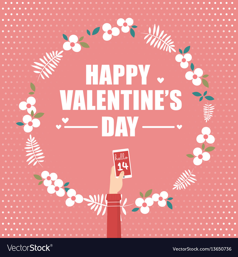Hand holding smartphone for valentines day