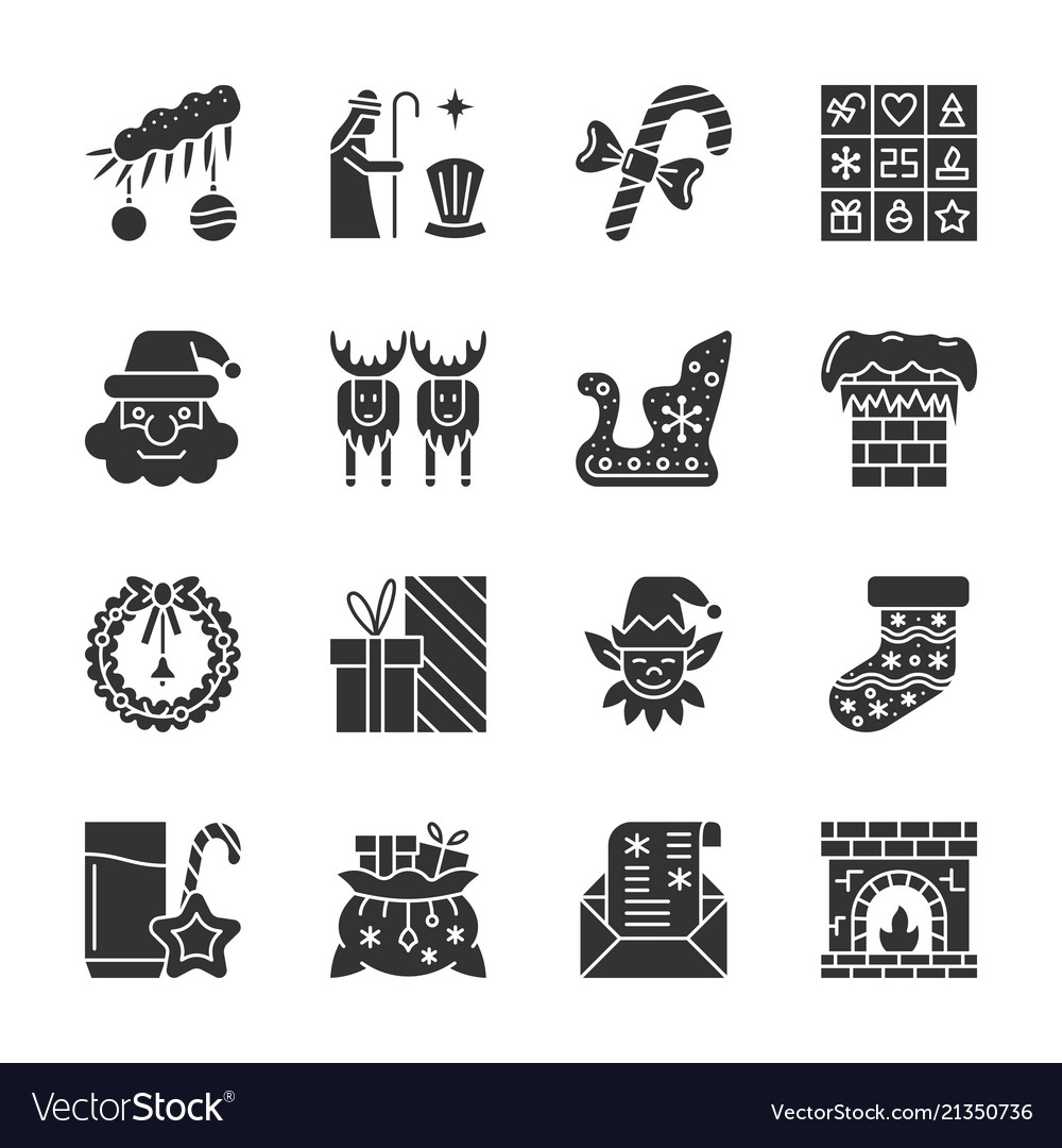 New year christmas black silhouette icon set