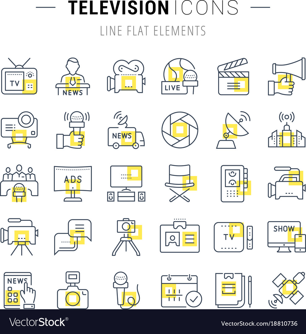 Set flat line icons television