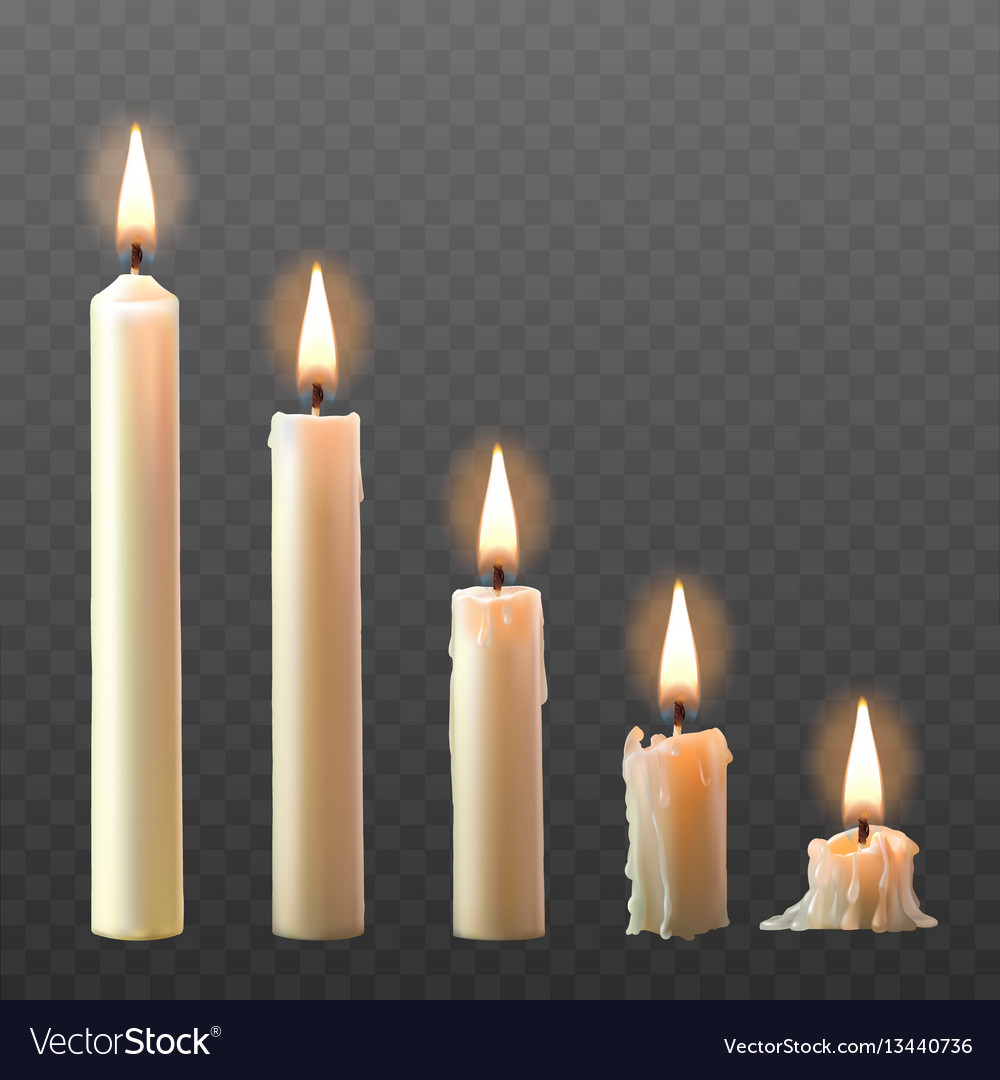 Set of realistic white burning candles