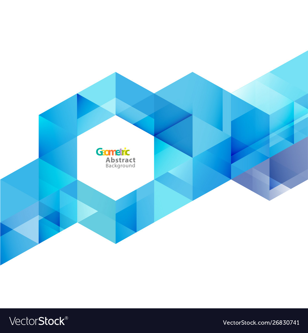 Blue geometric layout template on white