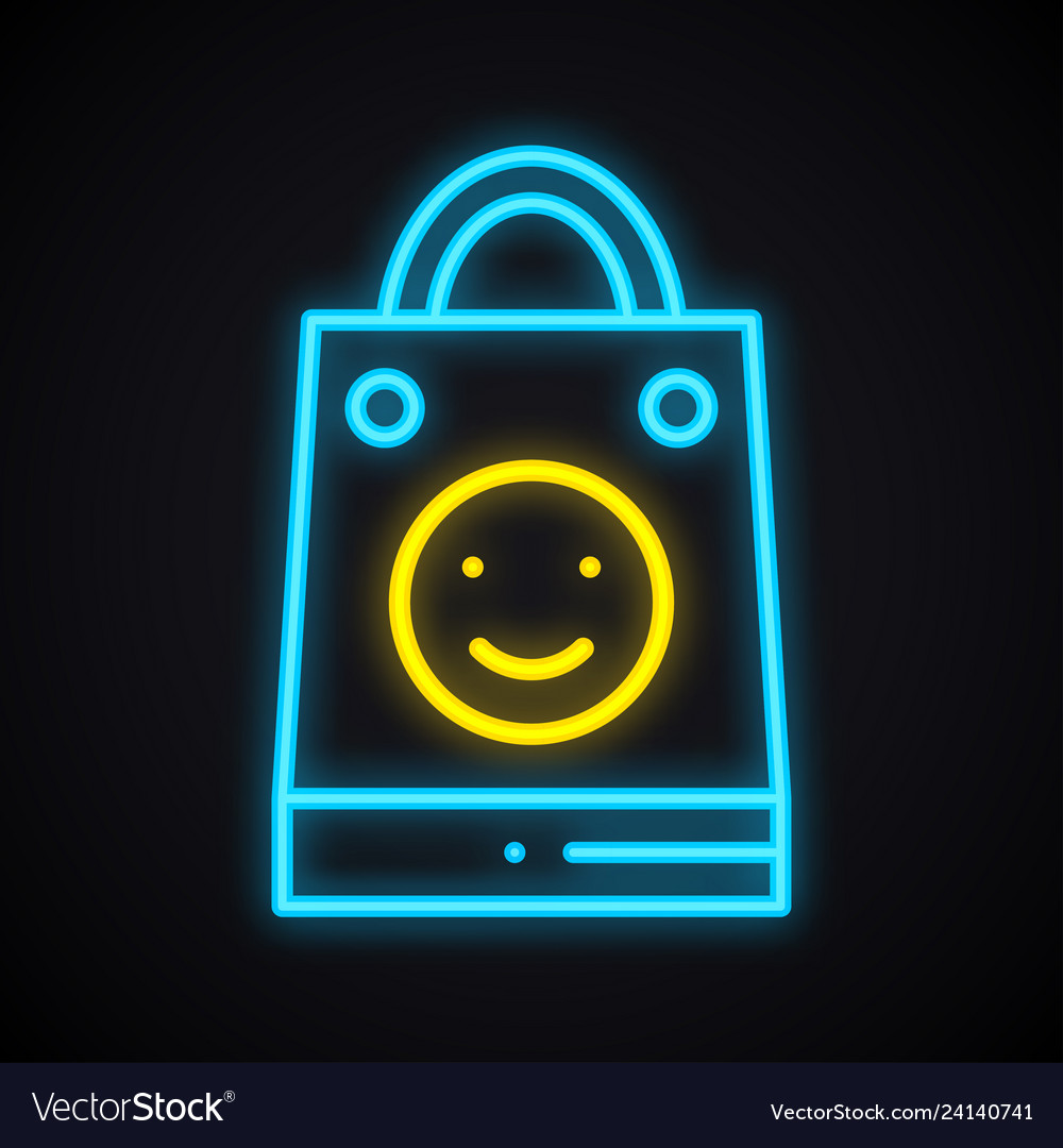 Bright neon shopping package with smile sign