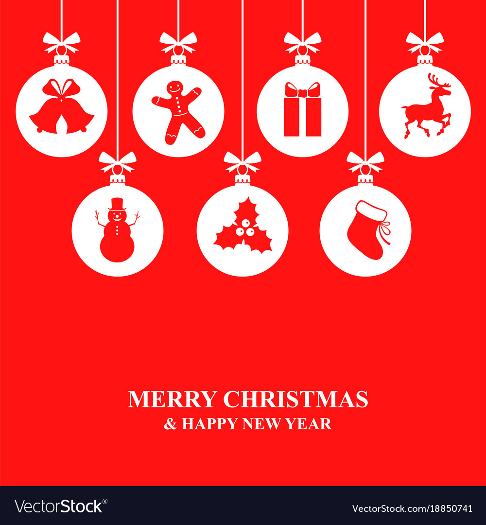 Christmas card with decorative balls vector image
