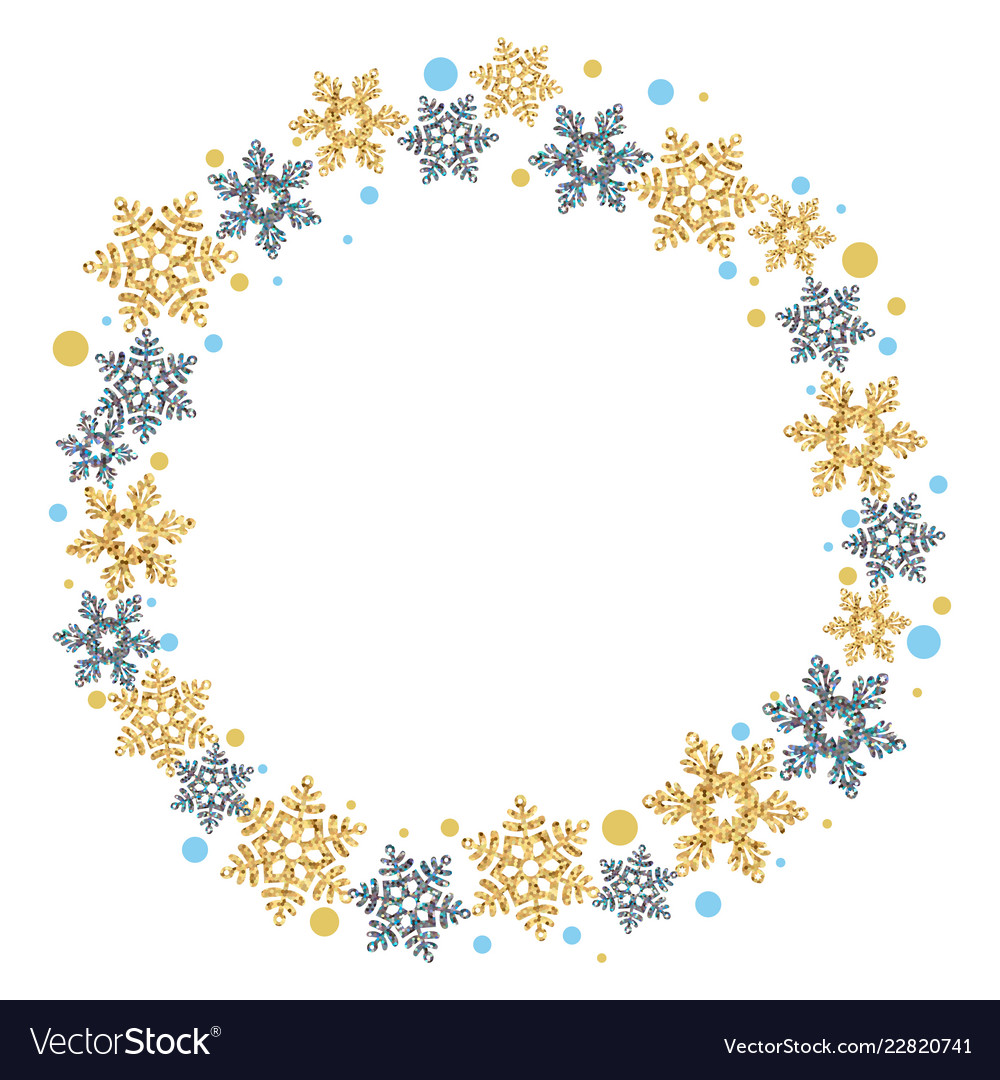 Christmas wreath with snowflakes on a white
