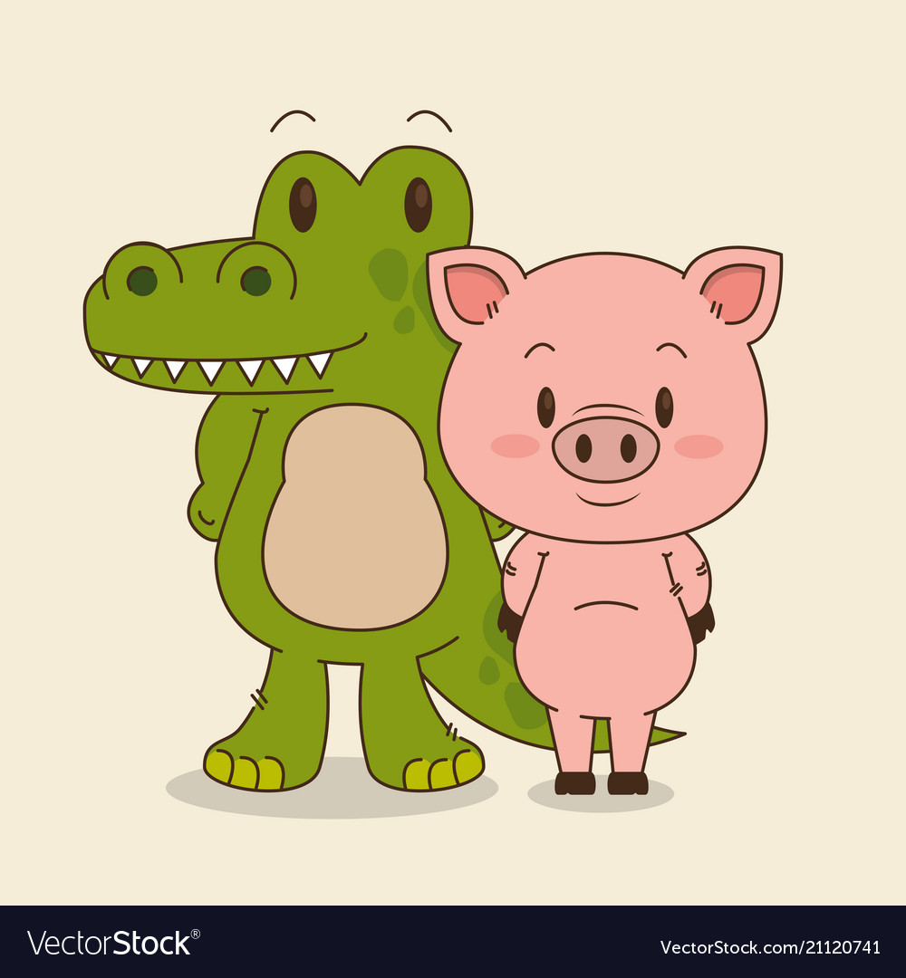 cute and little crocodile and pig characters vector image