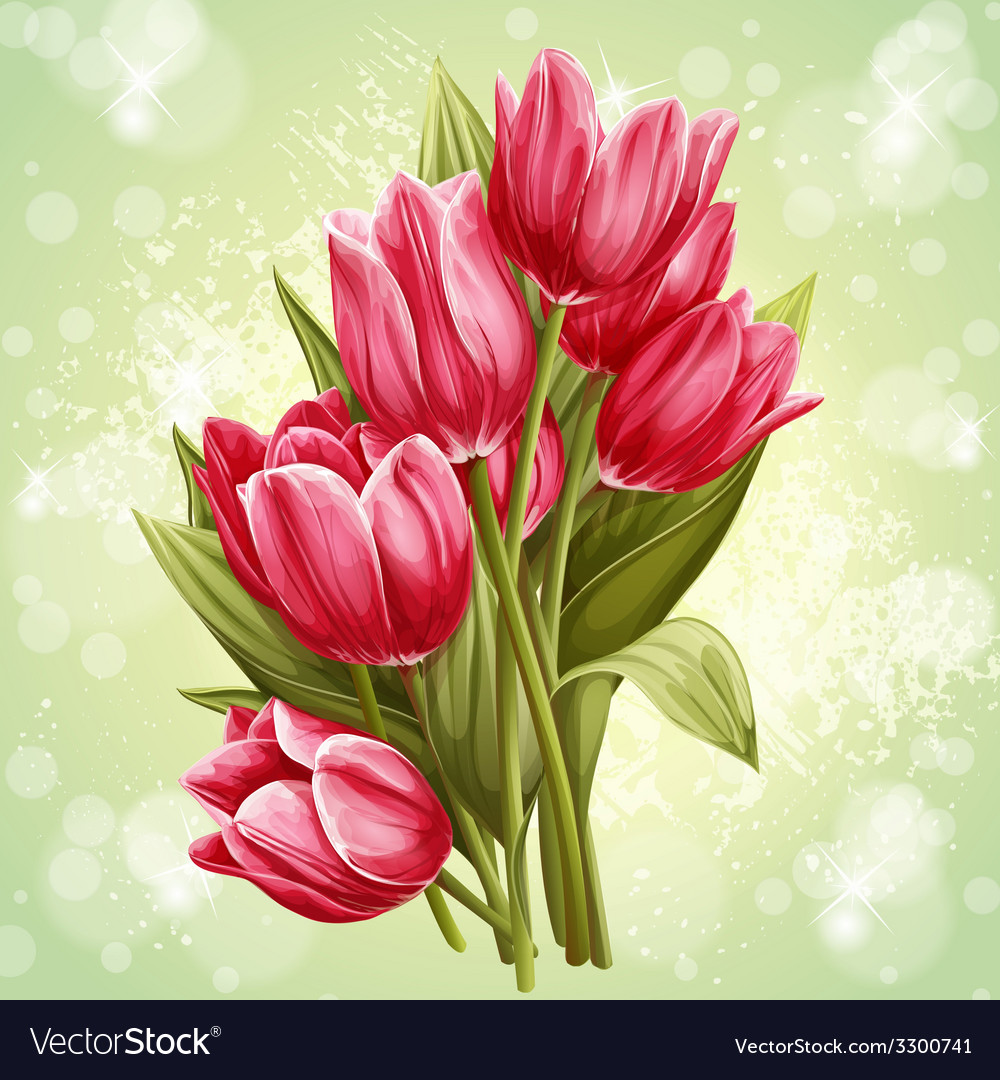 Image a bouquet flowers pink tulips