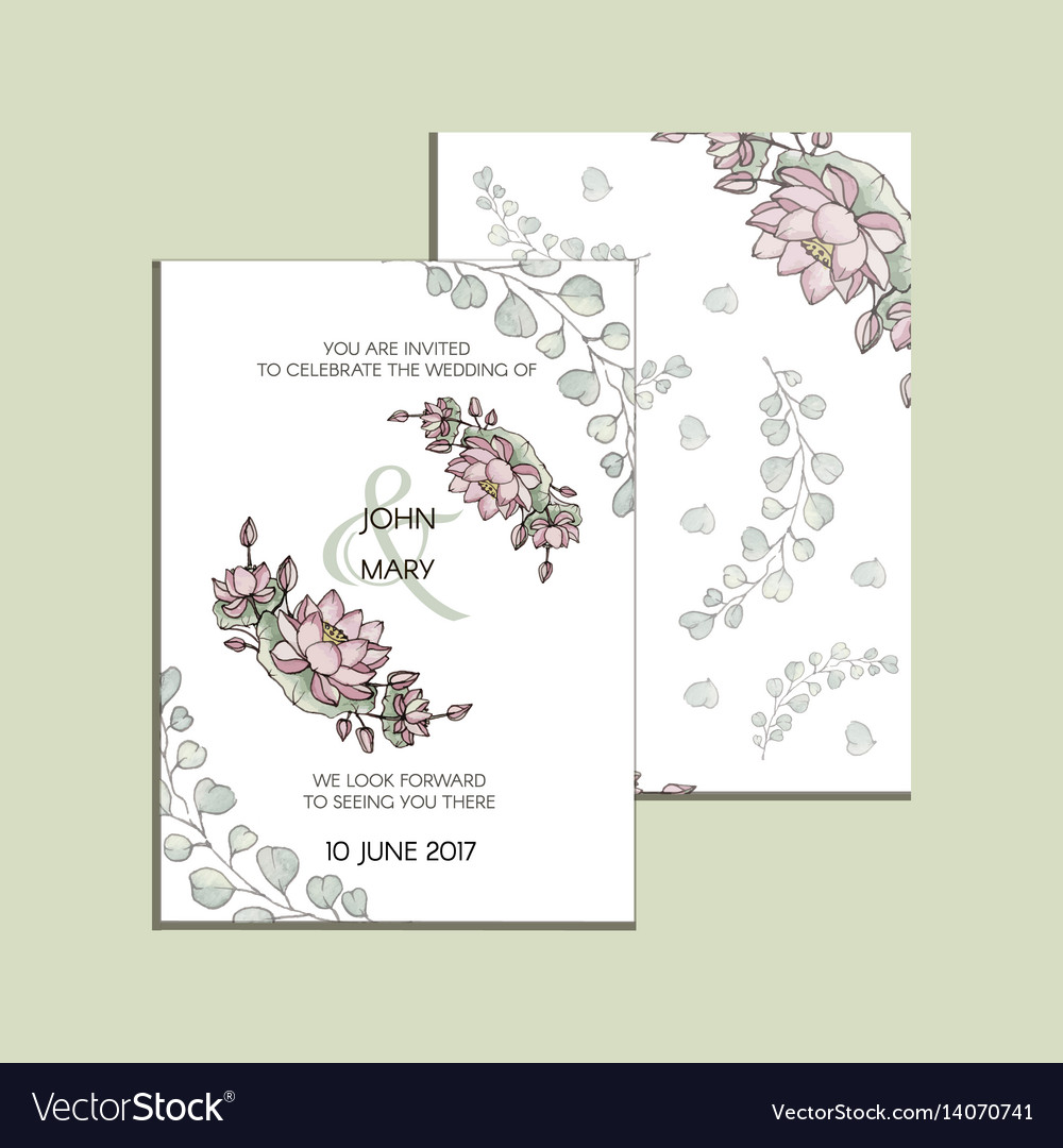 Invitation With Flowers Of Lotus Modern Royalty Free Vector
