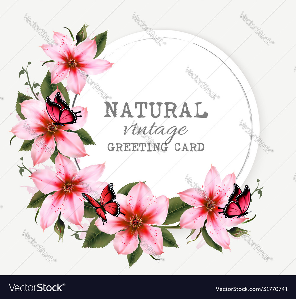 Natural vintage greeting card with beautiful pink