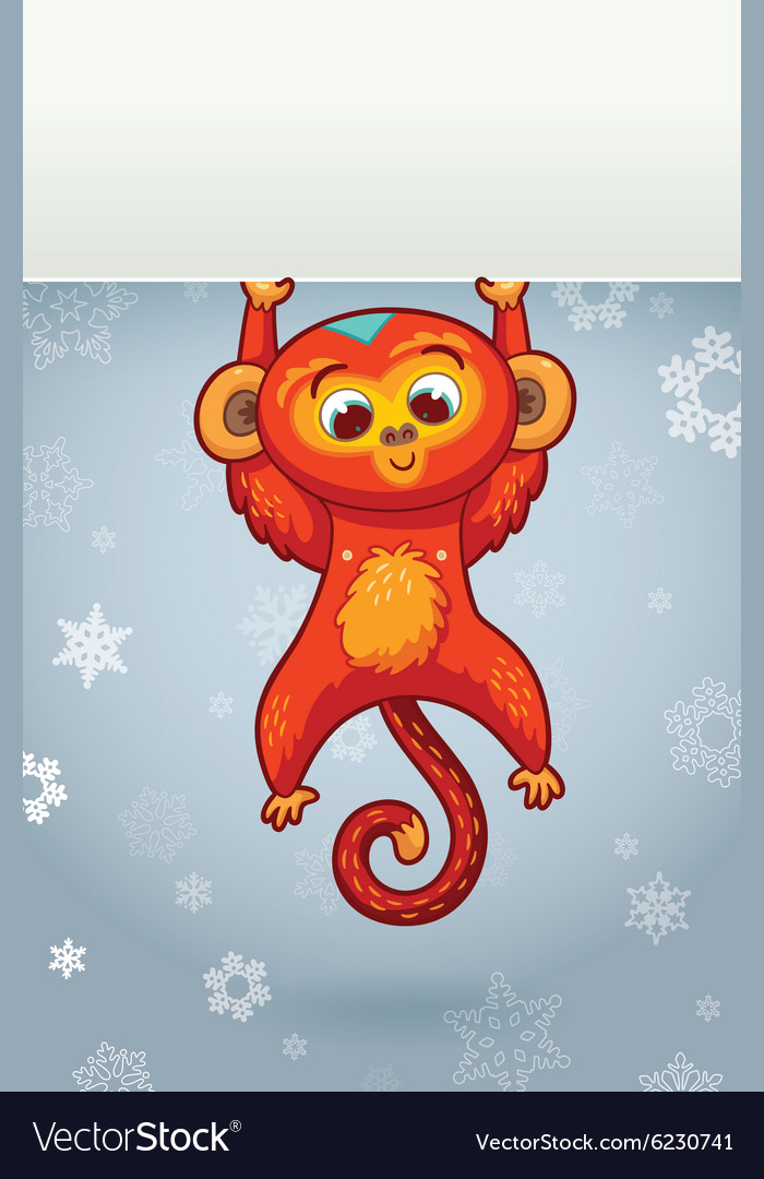 new year vertical banner with red monkey for year vector image
