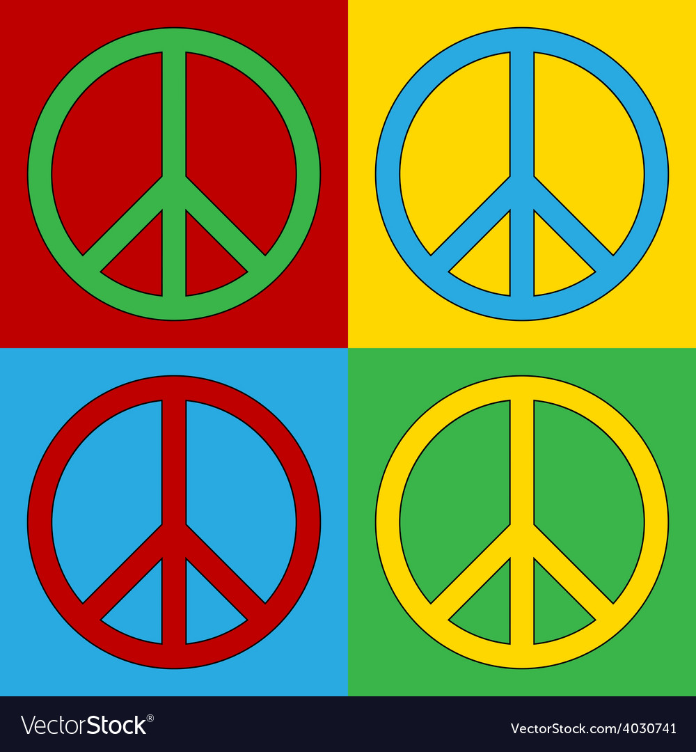 Pop Art Peace Icons Royalty Free Vector Image Vectorstock