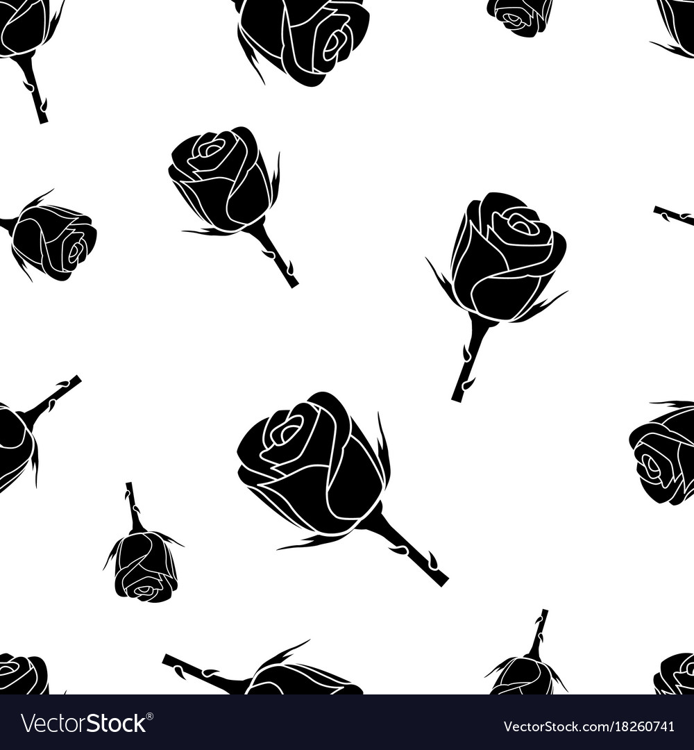 Seamless pattern of black silhouette roses on a vector image