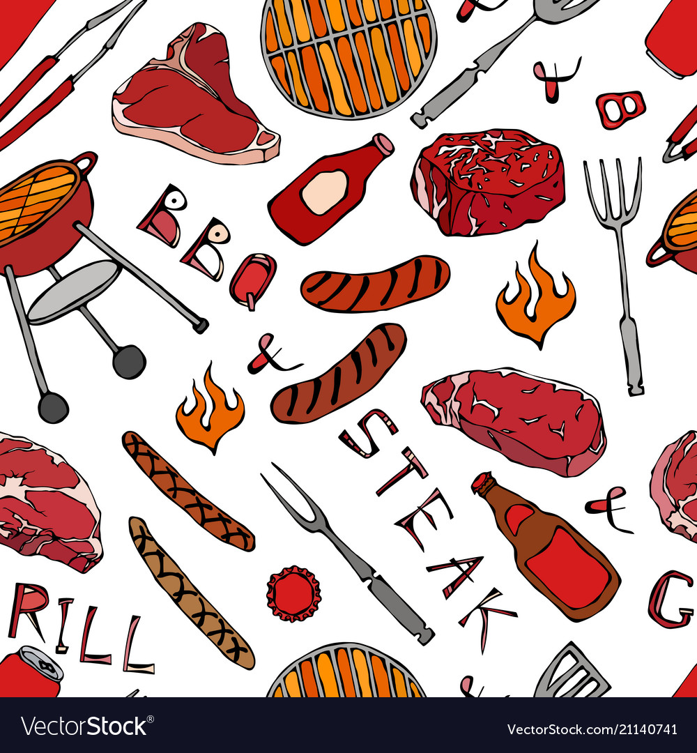 Seamless pattern of summer bbq grill party beer