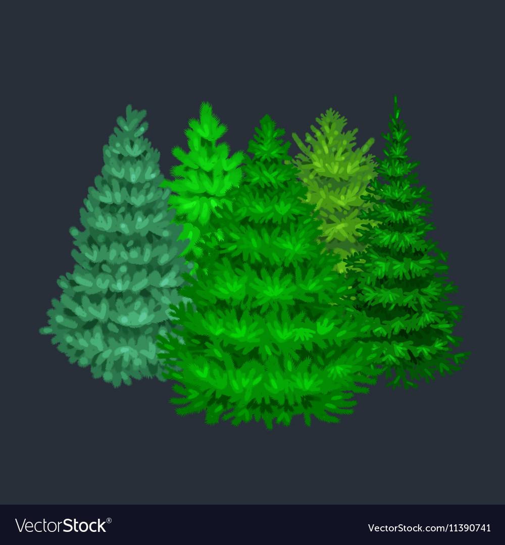 Set of christmas tree like fir or pine Blue