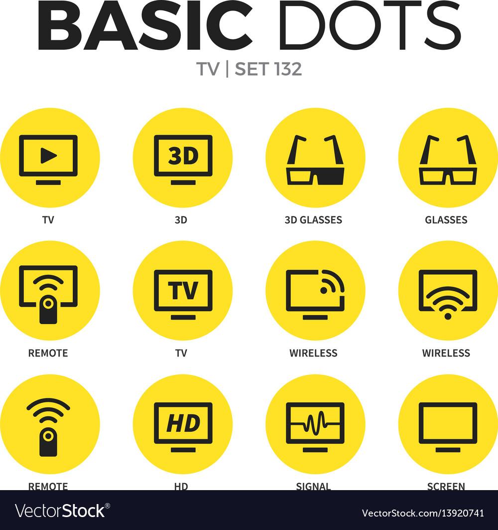 Tv flat icons set