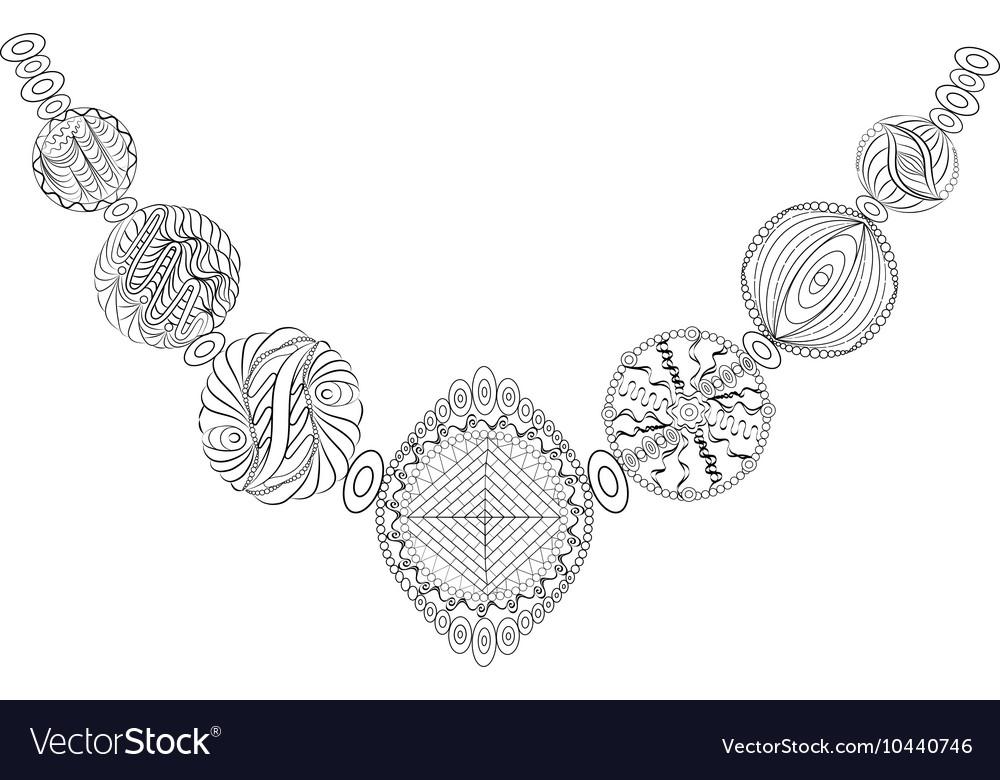 Decorative necklace Zentangle