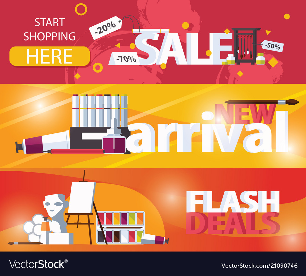 Horizontal banners sale and new arrival flash