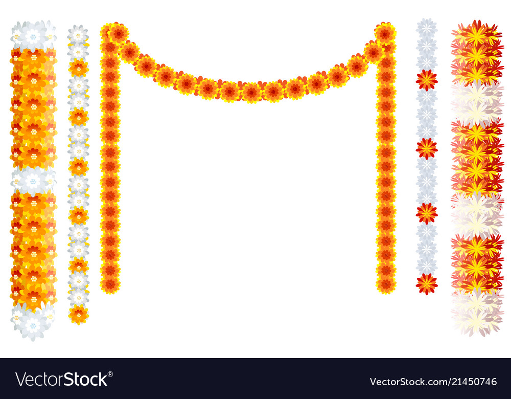 Indian orange flower garland mala frame isolated Vector Image
