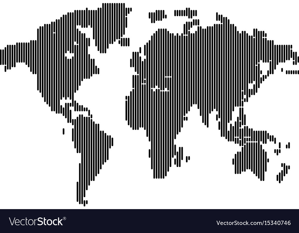 Isolated dark grey color worldmap of lines on