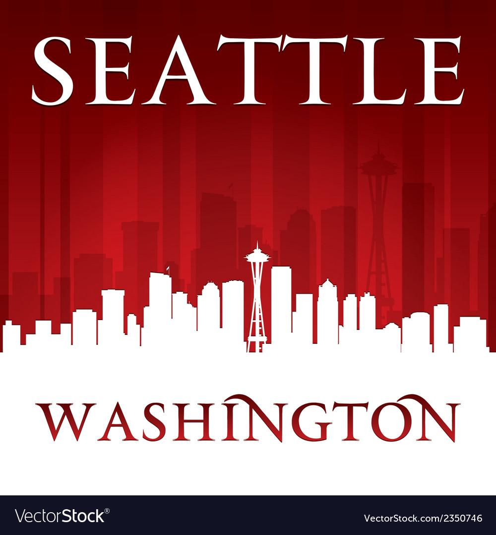 Seattle Washington city skyline silhouette
