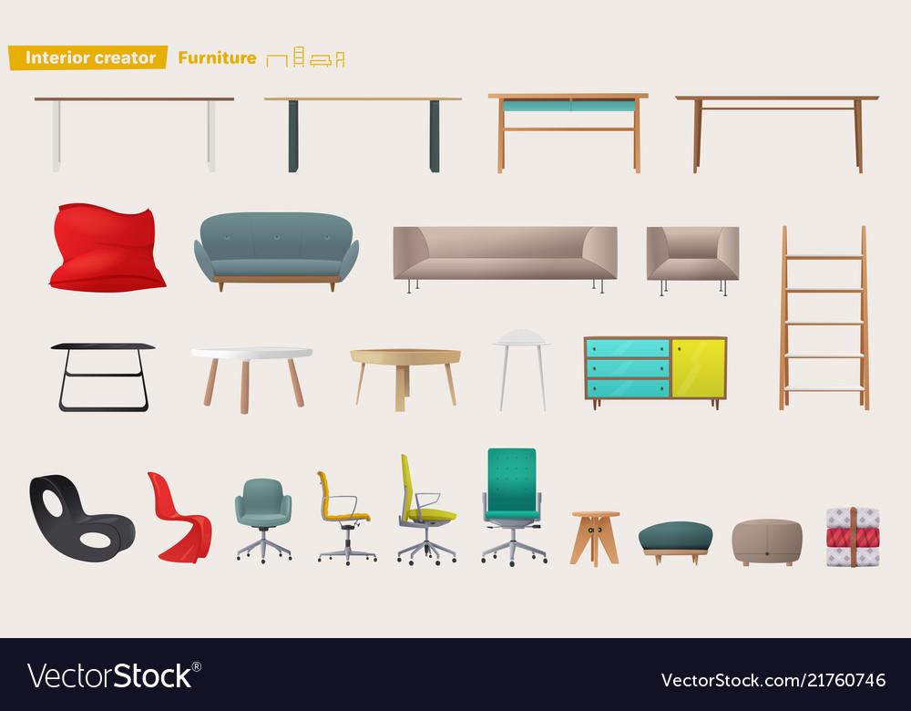 Set of furniture for home design