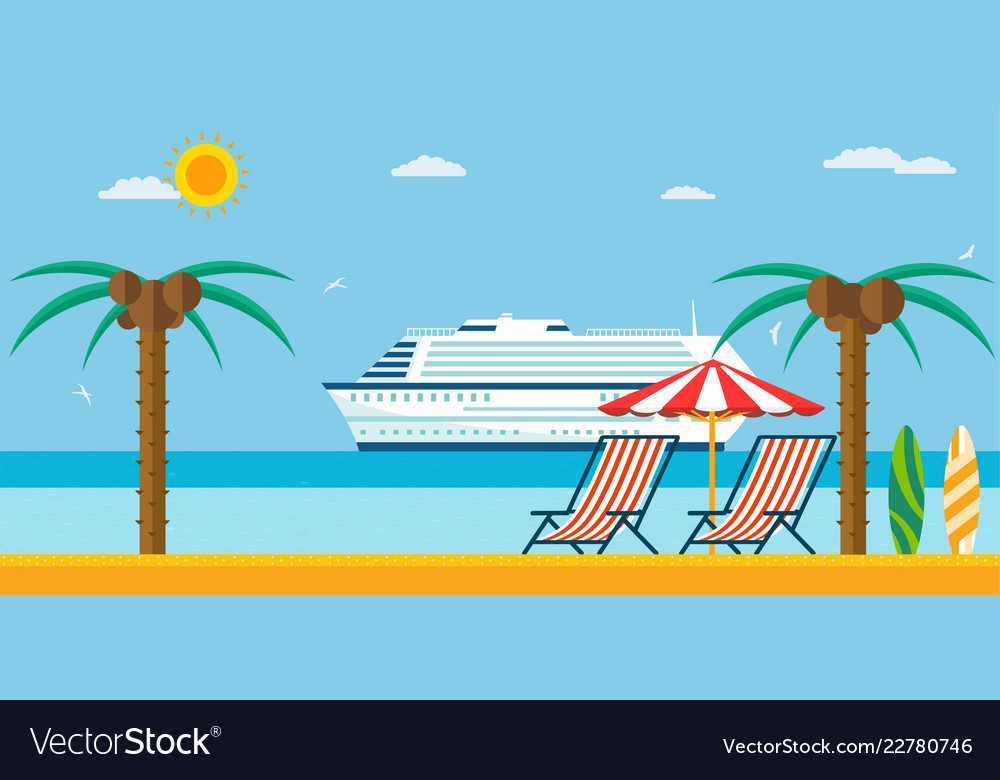 Vacation and travel sea beach with lounger and