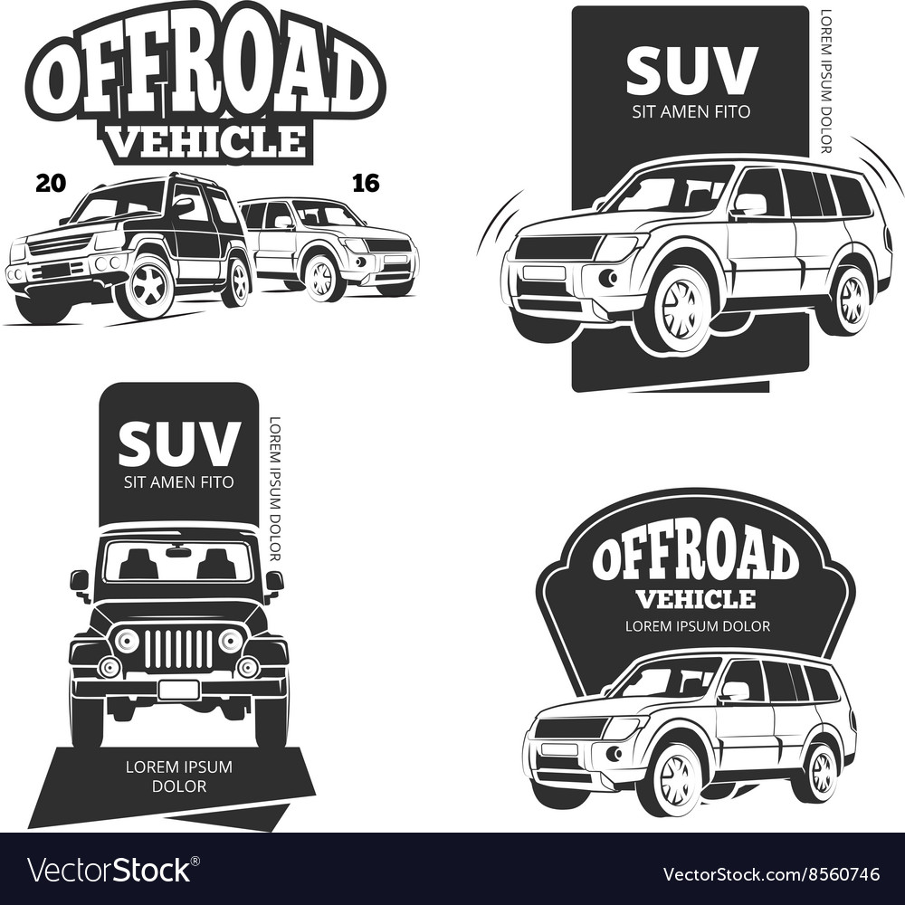 Vintage Suv Car Badges Labels Logos Royalty Free Vector