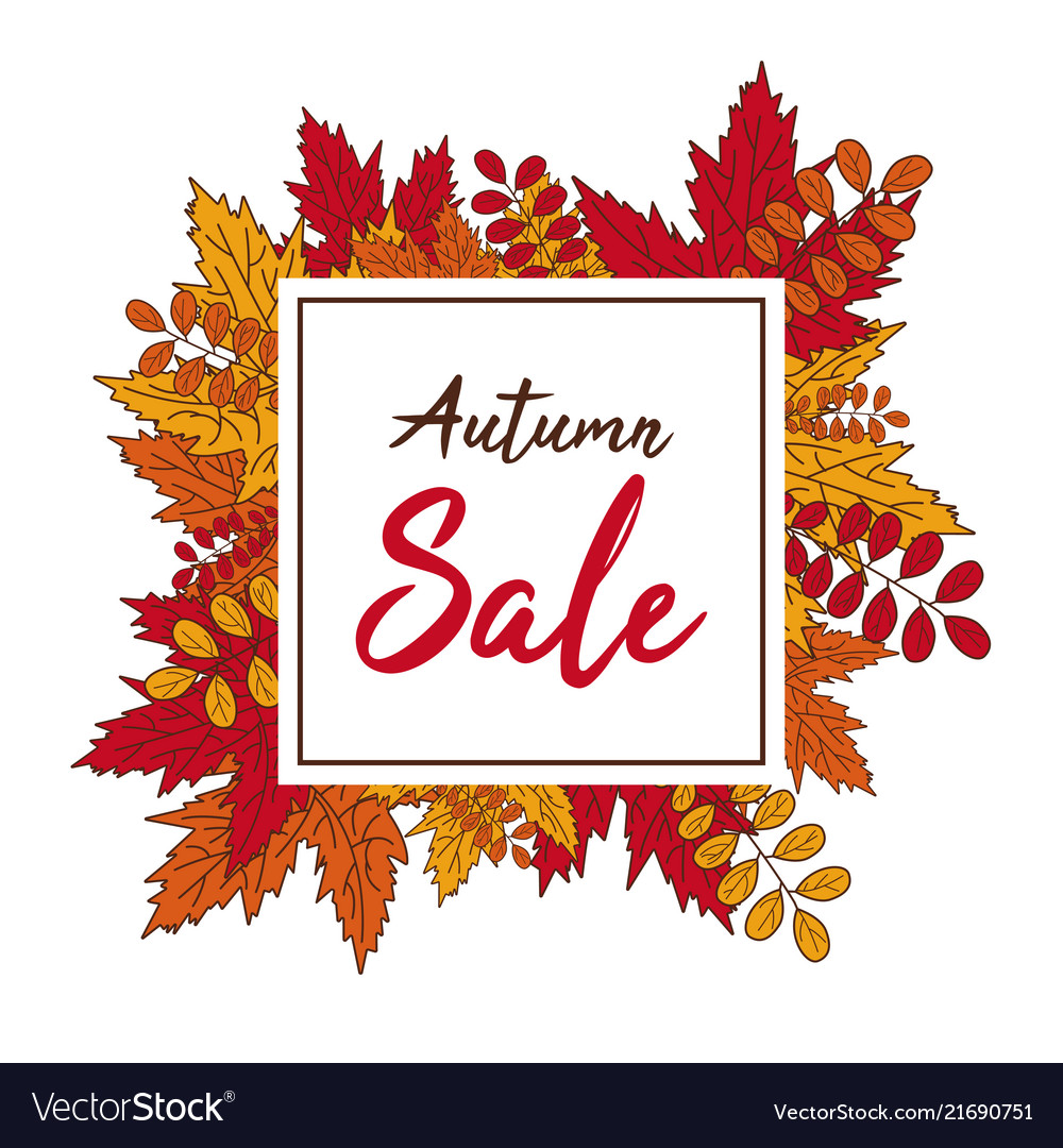 Autumn sale banner fall leaves