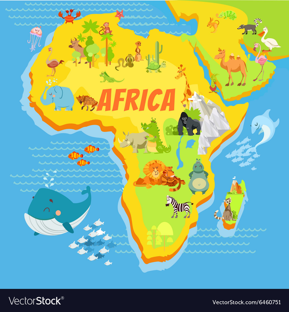 Map Of Africa Map.Cartoon Map Of Africa With Animals