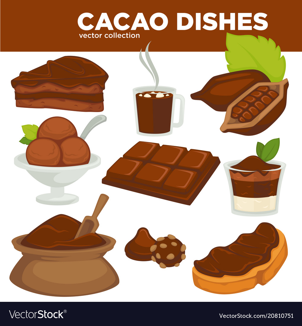 Delicious cacao sweet dishes and drink